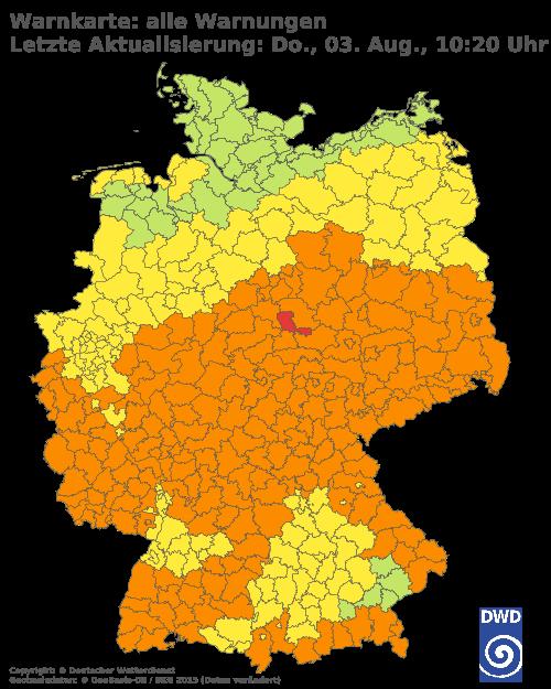 Amtliche Unwetterwarnungen und Wetterwarnungen des Deutschen Wetterdienstes