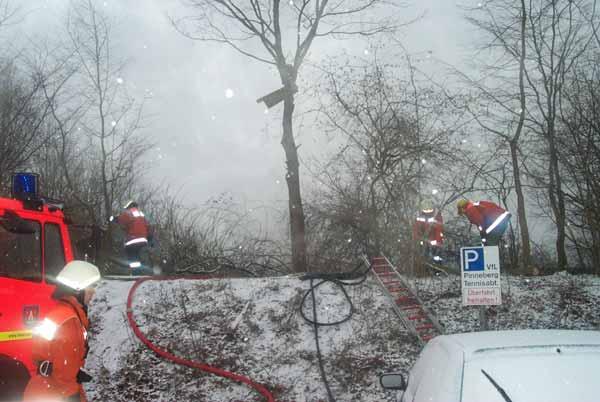 Damit die Drehleiter ans Dach des Vereinsheims reichen kann werden Büsche und Bäume entfernt
