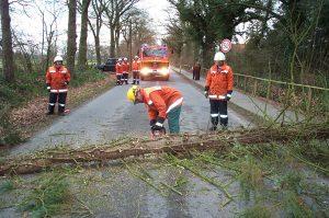 Hier versperrte ein Baum die gesamte Fahrbahn. Mit der Motorkettensäge konnte dieser schnell beseitigt werden