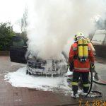 Mittels Löschschaum wurde das Feuer bekämpft