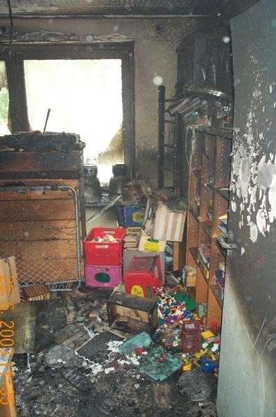 Der als Lager und Küche genutzte Raum wurde total zerstört