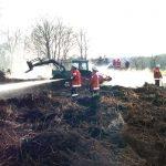 Der Flächenbrand hatte sich schon bis zu den im Hintergrund stehenden Bäumen ausgeweitet. Beim Eintreffen der ersten Einsatzkräfte konnten diese geschützt werden