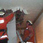 Einsatzkräfte öffnen die Decke, nachdem etwaige Glutnester mit der Wärmebildkamera lokalisiert wurden