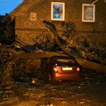 Ein großer Ast war auf ein Haus sowie ein Auto gestürzt