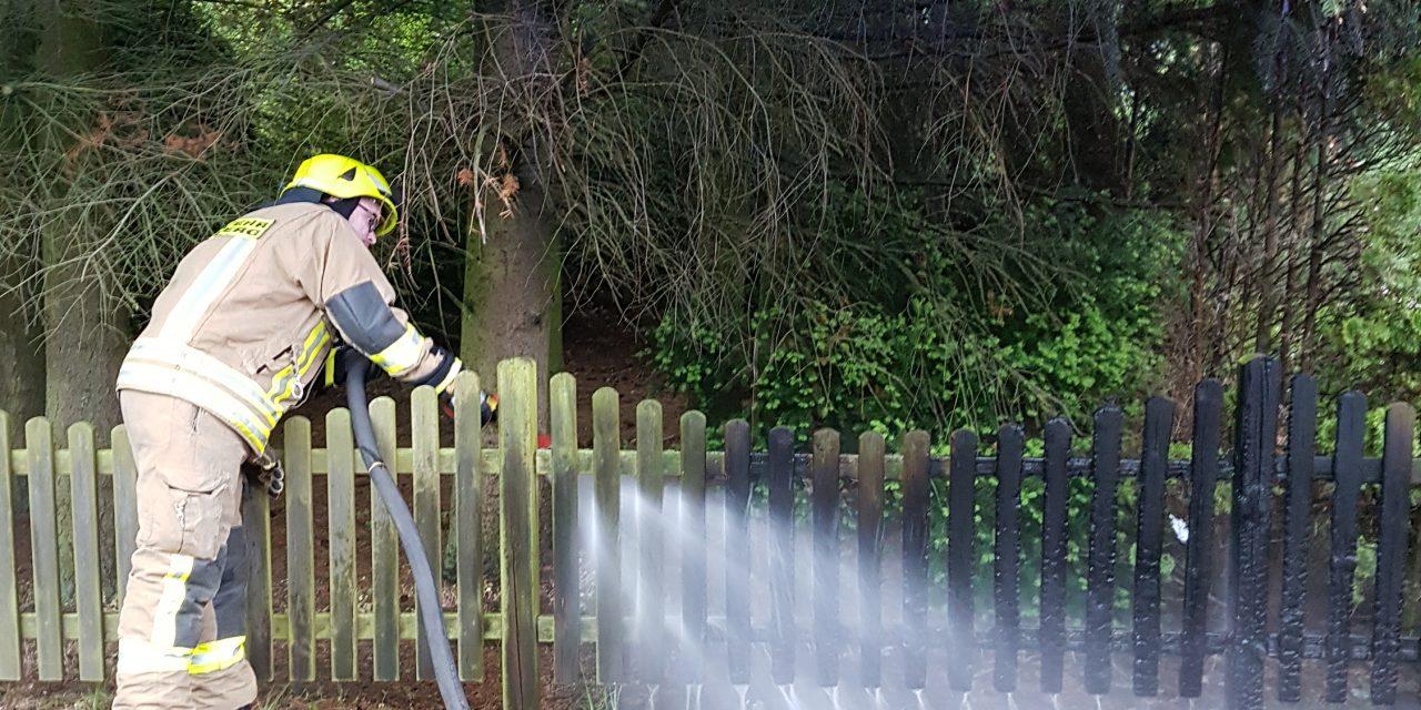 brennt Mülltonne und Gartenzaun