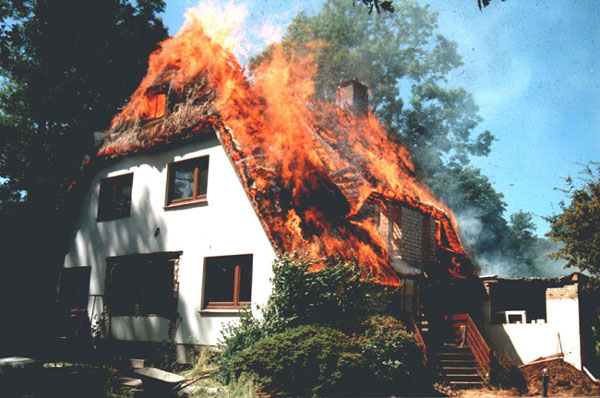 Reetdachhausbrand in Waldenau
