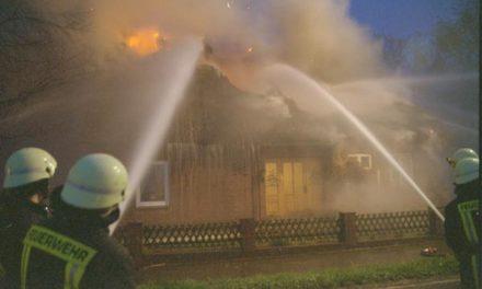 Reetdachhaus in Flammen