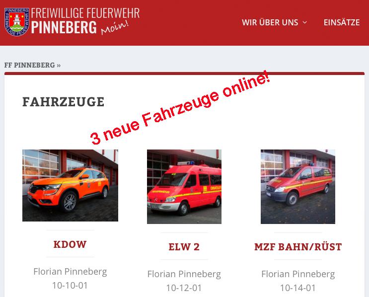 Neue Fahrzeuge online